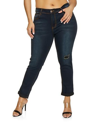 Plus Size VIP Distressed Whisker Wash Jeans,DARK WASH,large