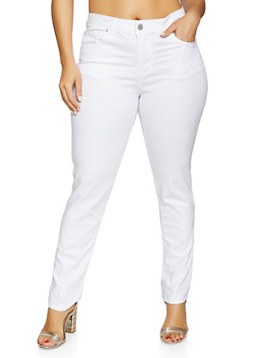 Plus Size VIP Push Up Stretch Jeans,WHITE,large