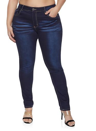 Plus Size VIP Frayed Pocket Jeans,DARK WASH,large