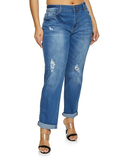 Plus Size VIP Medium Wash Roll Cuff Jeans,MEDIUM WASH,large