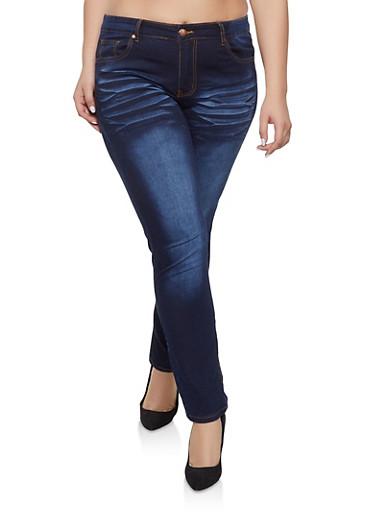 Plus Size VIP Straight Leg Whisker Wash Jeans,DARK WASH,large