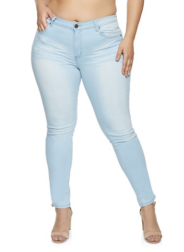 Plus Size VIP Solid Push Up Whiskered Jeans,LIGHT WASH,large