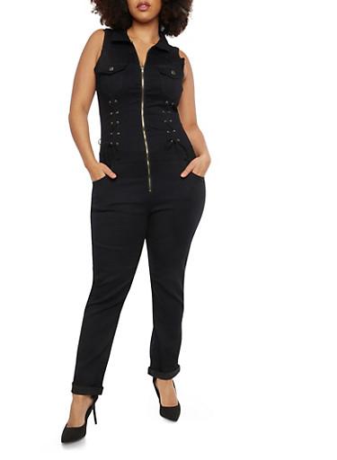 Plus Size VIP Lace Up Detail Denim Jumpsuit,BLACK,large