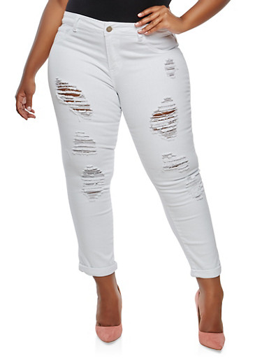 Plus Size VIP Destroyed Jeans | Tuggl