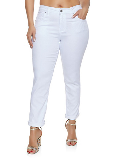 Plus Size VIP Push Up Roll Cuff Jeans,WHITE,large