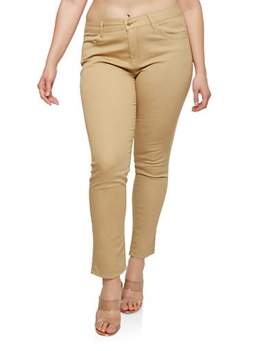 Plus Size Push Up Khaki Pants,KHAKI,large