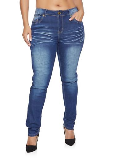 Plus Size VIP Push Up Jeans,DARK WASH,large