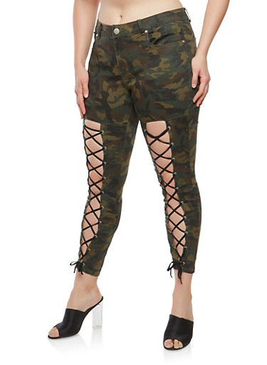 Plus Size Camo Print Lace Up Pants,OLIVE,large