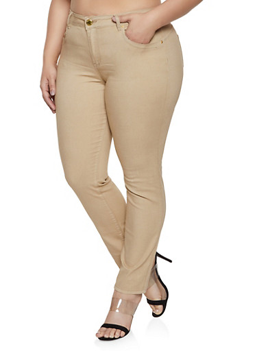 Plus Size Khaki Skinny Pants | 1870065307735,KHAKI,large