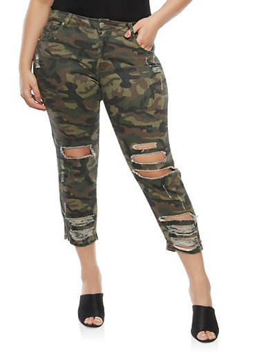 Plus Size VIP Cropped Camo Print Jeans,OLIVE,large
