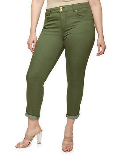 Plus Size VIP 2 Button Colored Skinny Jeans,OLIVE,large