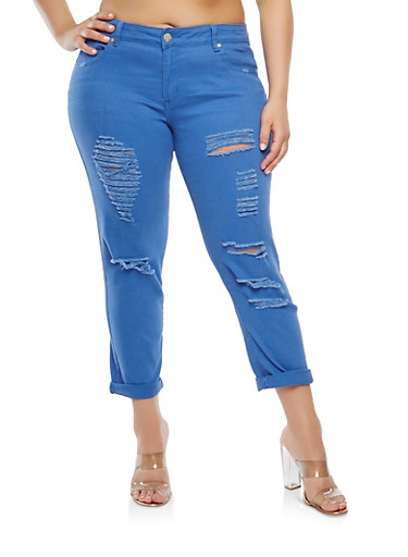 Plus Size VIP Destroyed Colored Skinny Jeans,DENIM,large