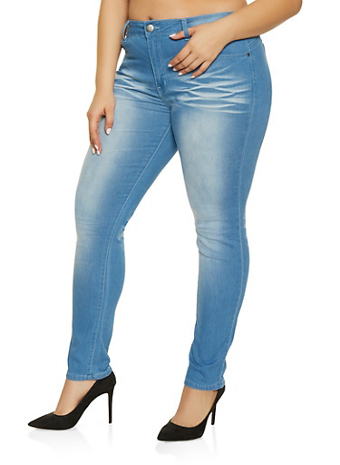 Plus Size VIP Whisker Wash Push Up Jeans,LIGHT WASH,large