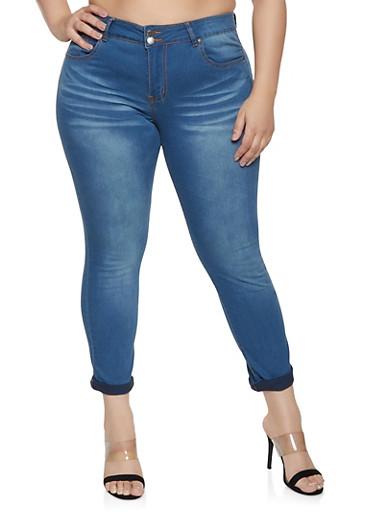 Plus Size VIP 2 Button Whiskered Jeans   Medium Wash,MEDIUM WASH,large