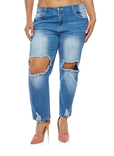 Plus Size VIP Destroyed Denim Jeans,MEDIUM WASH,large