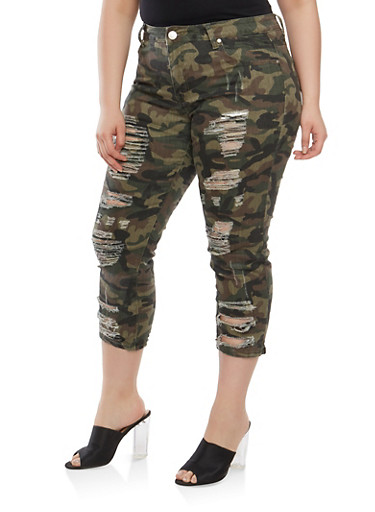 Plus Size VIP Camo Cropped Jeans,OLIVE,large