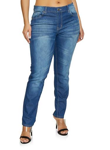 Plus Size VIP Distressed Jeans | Medium Wash,MEDIUM WASH,large