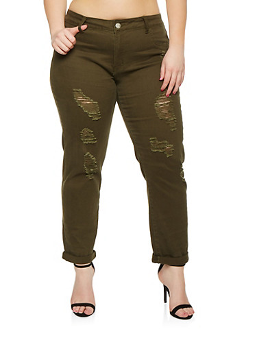 Plus Size VIP Distressed Cropped Camo Jeans,OLIVE,large