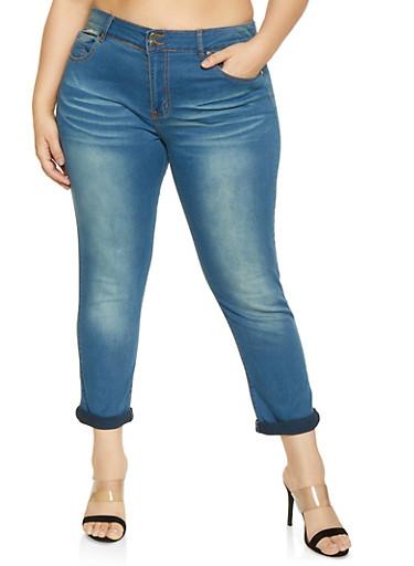 Plus Size VIP 2 Button Medium Whisker Wash Jeans,MEDIUM WASH,large