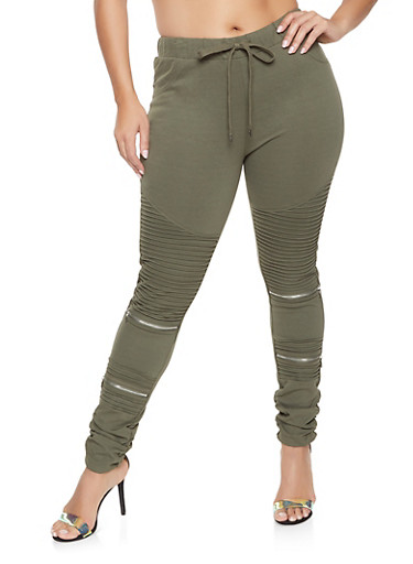 Plus Size Ruched Skinny Moto Pants,OLIVE,large