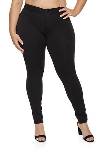Plus Size Basic Stretch Jeggings,BLACK,large