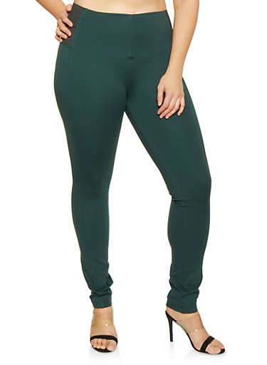 Plus Size Ponte Knit Pull On Pants,GREEN,large