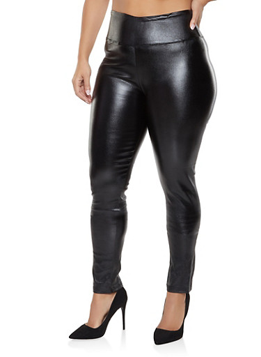 Plus Size Faux Leather Pull On Pants,BLACK,large