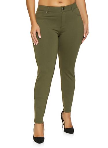 Plus Size Ponte Skinny Pants,OLIVE,large