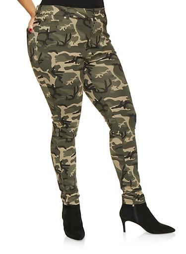 Plus Size Camo Ponte Knit Pants,GREEN,large