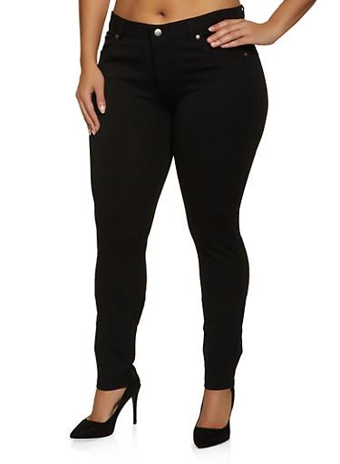 Plus Size Solid Skinny Jeggings,BLACK,large