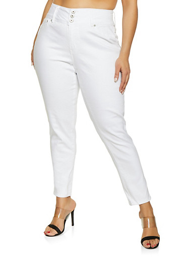 Plus Size Highway 3 Button Push Up Jeans,WHITE,large