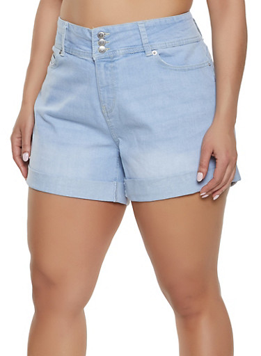 Plus Size Highway Whiskered Denim Shorts,LIGHT WASH,large