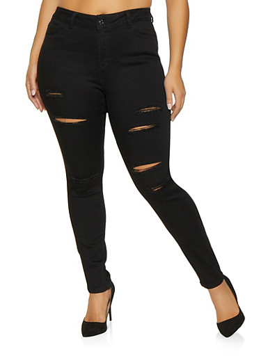 Plus Size WAX Slashed Skinny Jeans,BLACK,large