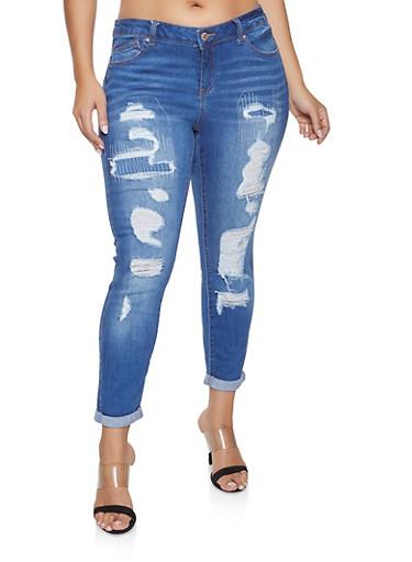 2473c79eb5e Plus Size WAX Distressed Jeans - Rainbow