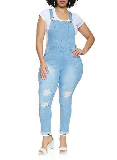 Plus Size WAX Distressed Denim Overalls,LIGHT WASH,large