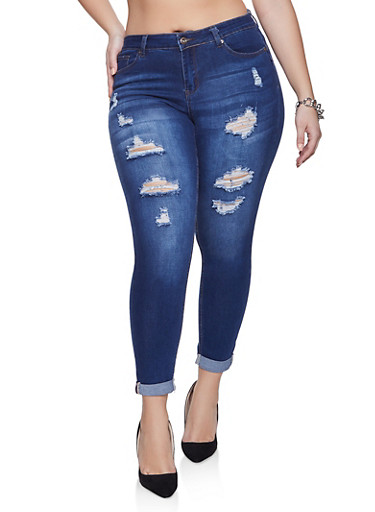 Plus Size WAX Push Up Fixed Cuff Jeans,DARK WASH,large