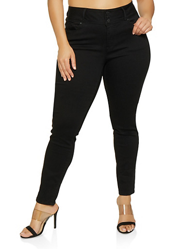 Plus Size WAX 3 Button High Waisted Jeans,BLACK,large