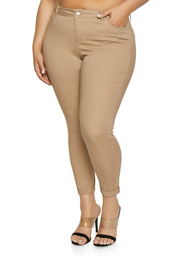 Plus Size WAX Fixed Cuff Stretch Jeans,KHAKI,large