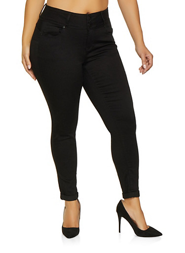 Plus Size WAX 3 Button Push Up Jeans,BLACK,large