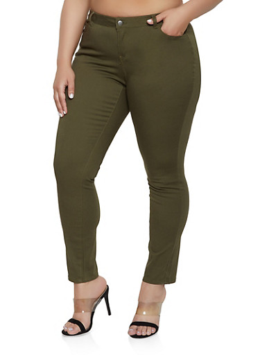 Plus Size WAX Basic Colored Skinny Jeans,OLIVE,large
