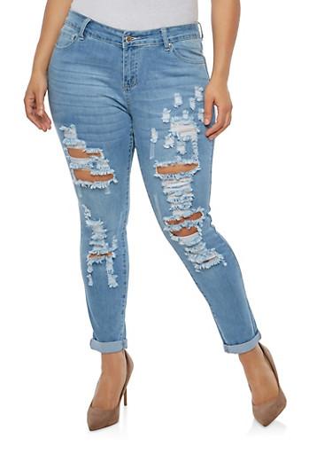 Plus Size WAX Distressed Skinny Jeans - 1870071610102