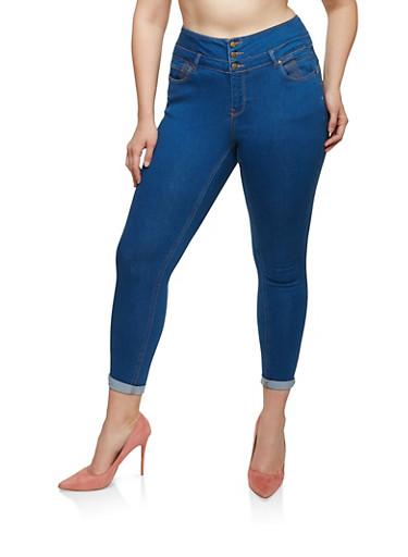 Plus Size WAX Push Up Skinny Jeans,MEDIUM WASH,large