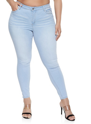 Plus Size WAX High Rise Whiskered Jeans,LIGHT WASH,large