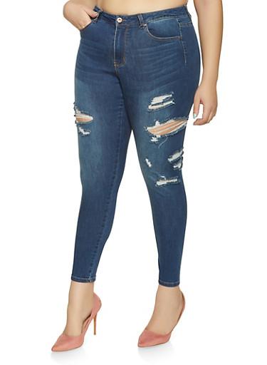 Plus Size WAX Skinny Jeans,DARK WASH,large