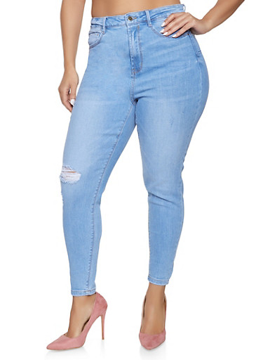 Plus Size WAX High Waisted Push Up Jeans,LIGHT WASH,large