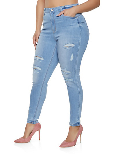 Plus Size WAX Destroyed High Waisted Jeans,LIGHT WASH,large