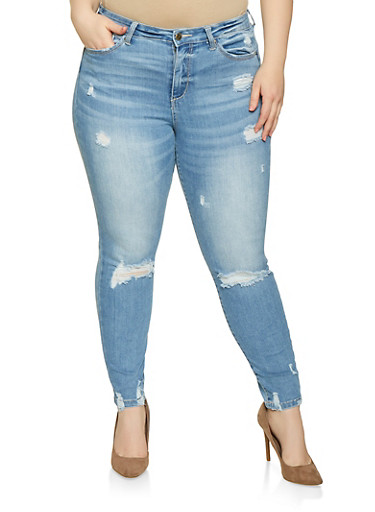 Plus Size WAX Distressed High Waisted Jeans,LIGHT WASH,large