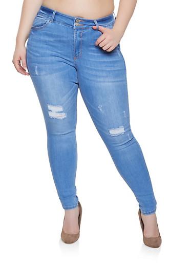 Plus Size WAX High Waist Skinny Jeans,LIGHT WASH,large