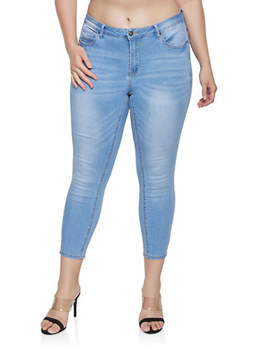 Plus Size WAX Push Up Jeans,LIGHT WASH,large