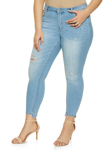 Plus Size WAX Distressed Step Hem Jeans,LIGHT WASH,large